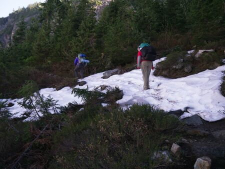 Female Backpackers Crossing Snow photo