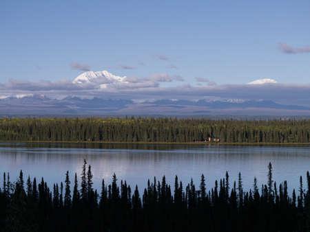 lakefront: Solitary lakefront cabin-Denali in background