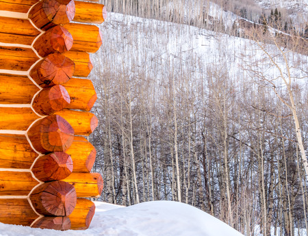 log cabin in snow: Exterior corner of log cabin with aspens in snow Stock Photo