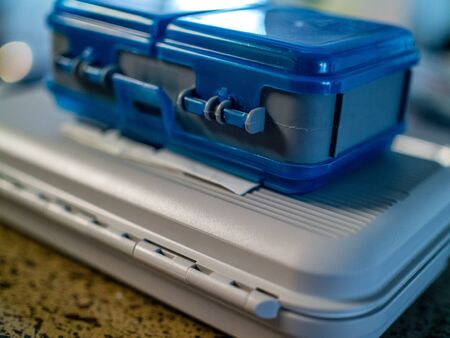 tackle: Plastic tackle boxes, blue and white