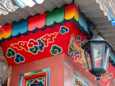 street lamp: Street lamp and colorful, painted detail in Nepal