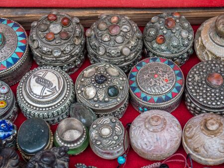 jeweled: Jeweled boxes for sale by street vendor in Nepal