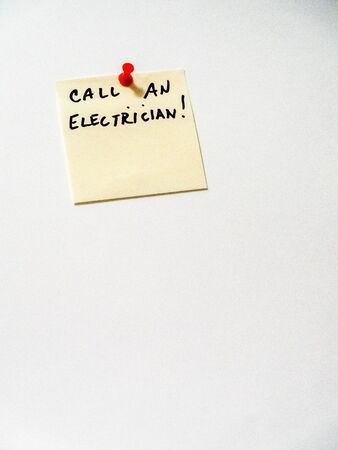 call an electrician post it note on white, portrait orientation