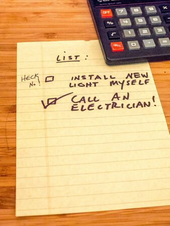 Call an electrician, don't do it yourself! Stock Photo