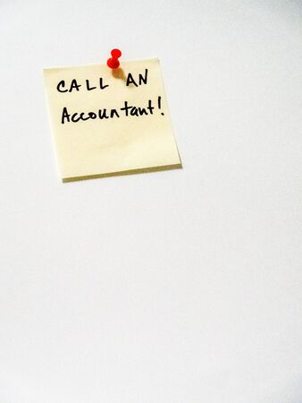 call an accountant, post it note on white, portrait orientation