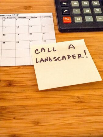 calendar, calculator, post it, landscaping