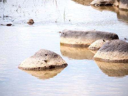 Isolated rocks in a calm stream, landscape orientation