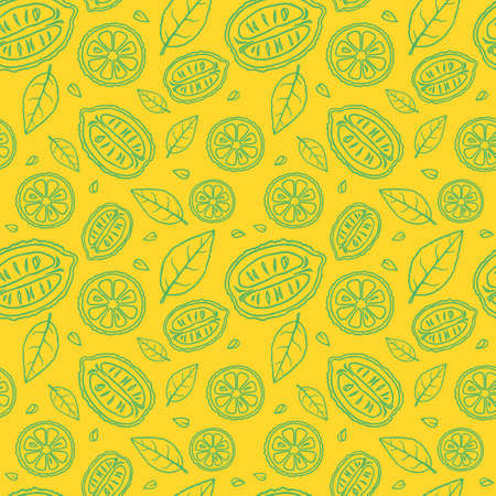 Seamless yellow pattern with doodles of green sliced lemons and leaves
