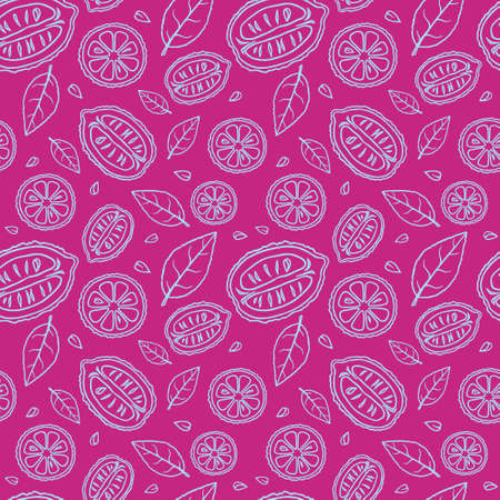 Seamless fuchsia pattern with doodles of blue sliced lemons and leaves