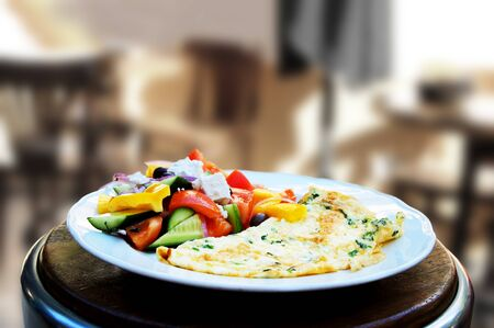 israeli: Israeli breakfast omelette and vegetables