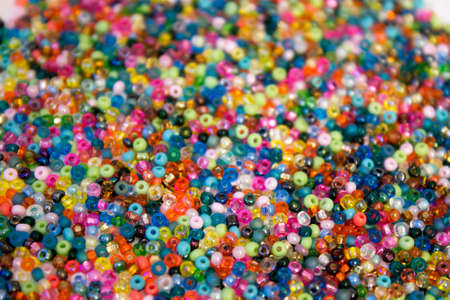 seed beads: This is a closeup photograph of multicolored Glass seed beads background Stock Photo