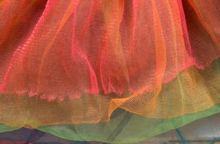 This is a photograph of Colorful Tulle Tutu closeup background