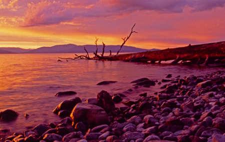 flathead: Flathead lake sunset  Stock Photo