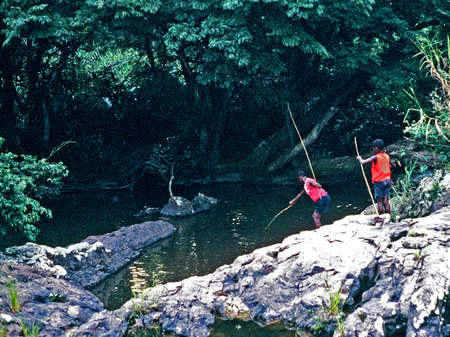 コンゴの子供たちの釣り 写真素材