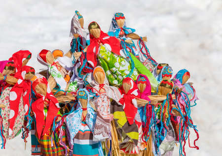 Colourful pile of handmade Maslenitsa dolls.