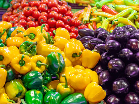 Veriety of vegetables on a marketplace counter