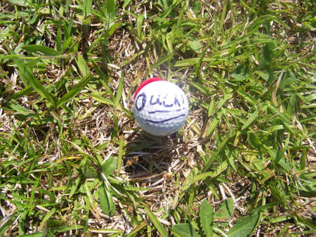 ouch  -  golf  ball  in  pain Stock Photo