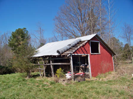 abandoned  red  barn