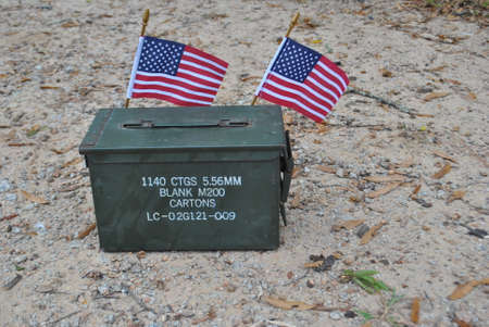 military  ammo  box  with  flags