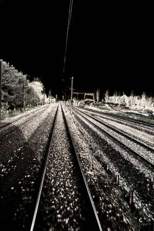 night scene on the tracks Stock Photo - 5299698