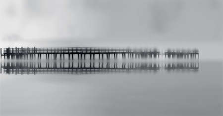 wooden bridge plunged into the fog