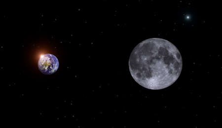 moon,earth and fire of the sun photo