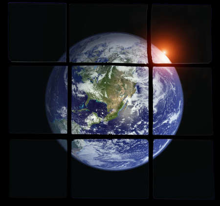 the Earth viewed through an old decayed window Stock Photo