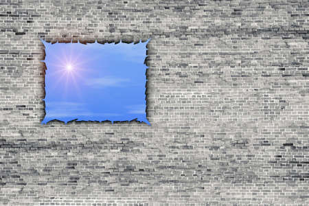 broken brick wall with sunshine light through Stock Photo - 8219514