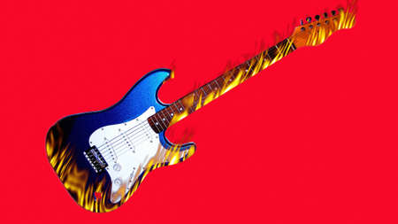 burning flame guitar mode on red background Stock Photo - 8250312