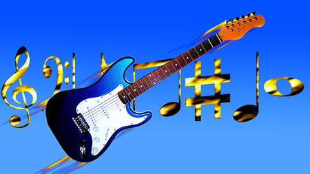 a string of musical keys and guitar in flame  on blue sky  background