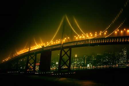 San Francisco night view of the bridge