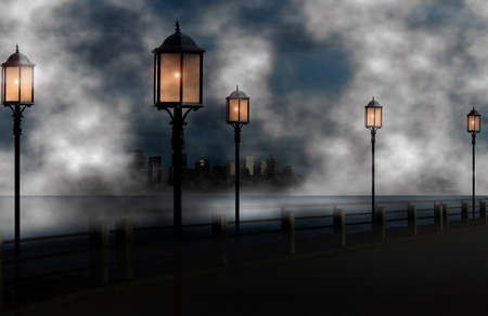 cold night with autumn fog in the city