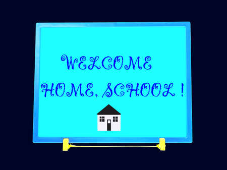 blue blackboard with text regarding school model photo