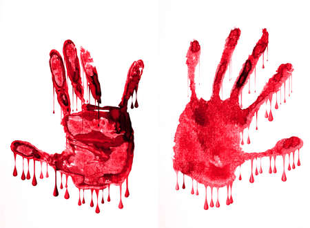 hands with dripped blood drops on model photo