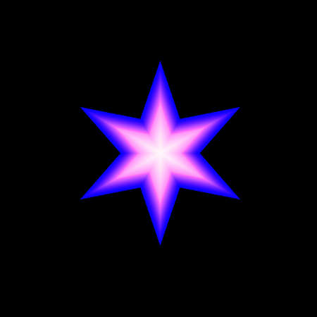 blue and white star on black background