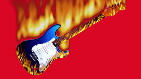 guitar in flames on a red background photo