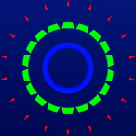 multicolor spikes circular model on blue background Stock Photo