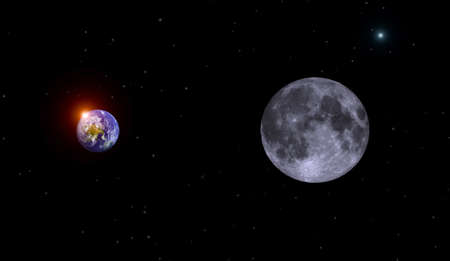 earth,moon and sun on cosmos background photo