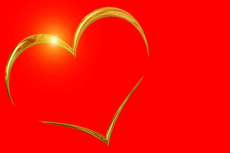 valentine`day golden ring on red color background photo