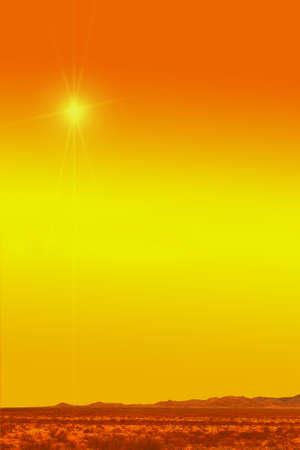 desert under hot yellow sun in a dried summer day