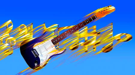 guitarin flames  and key notes on the blue background Stock Photo - 8543018