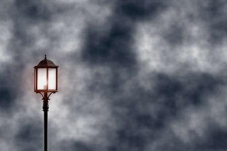 post lamp light on the sky profile