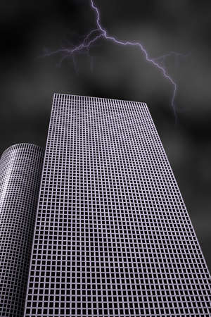 skyscraper under the lightning of the storm photo
