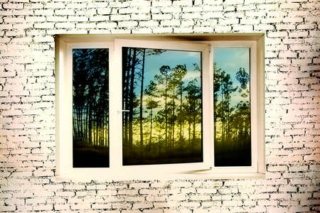 window with forest view on the brick walls photo