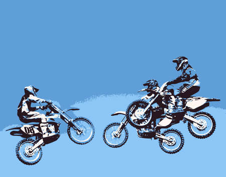 motocross competition participants flying out their motors photo