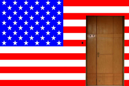door entrance to the american flag house photo