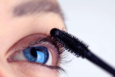 eyelash cared with rimmel and blue eyes Stock Photo