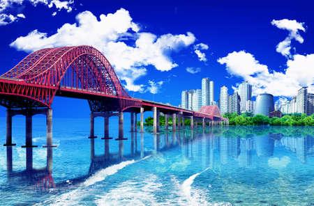 bridge over water: bridge over water leading  to the city
