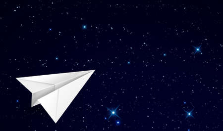 paper plane flying in the outer space