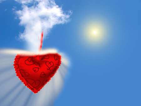 red barbed in heart shape on blue sky background photo